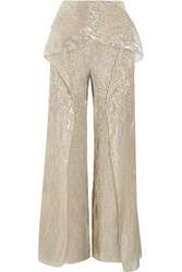 Roland Mouret Caldwell Cropped Draped Silk Blend Lame Wide Leg Pants Gold