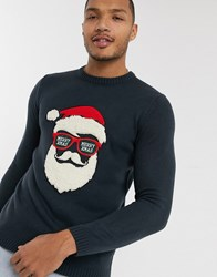 Only And Sons Christmas Santa Flock Jumper In Navy