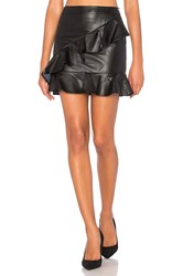 Endless Rose Asymmetrical Ruffle Mini Skirt Black