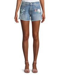 7 For All Mankind Cutoff Floral Painted Denim Shorts Blue
