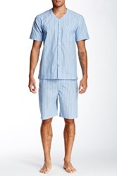 Majestic V Neck Short Sleeve Pajama Set Blue