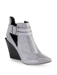 Derek Lam Vera Cutout Snake Embossed Leather Wedge Ankle Boots Stone Grey