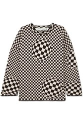 Off White Checked Cotton Blend Sweater Black