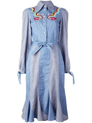 Olympia Le Tan Smoking Lips Beaded Shirt Dress Blue