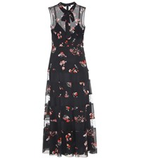 Red Valentino Stretch Silk And Lace Dress Black