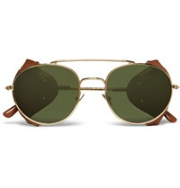 L.G.R Aviator Style Leather Trimmed Metal Sunglasses Gold