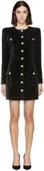 Balmain Black Velvet Military Dress