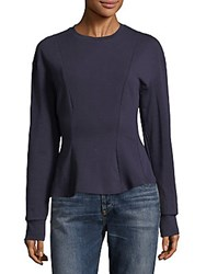 Lea And Viola French Terry Peplum Sweater Navy