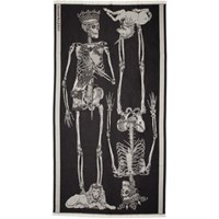 Alexander Mcqueen Black King And Queen Skeleton Shawl