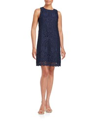 Eliza J Embroidered Roundneck Dress Navy
