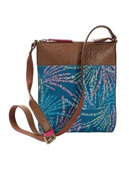 White Stuff Cora Print Canvas Crossbody Teal
