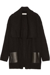 Michael Michael Kors Faux Leather Trimmed Knitted Cardigan Black