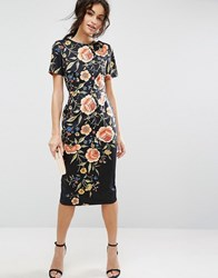 Asos Wiggle Dress In Floral Embroidery Print Multi