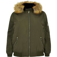 River Island Womens Ri Plus Khaki Green Padded Bomber With Hood