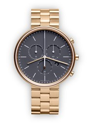 Uniform Wares M40 Women's Chronograph Watch In Pvd Satin Gold With Pvd Satin Gold Grey