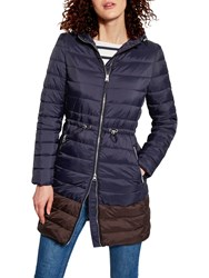 Joules Heathcote Colour Block Quilted Coat Marine Navy