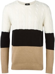 Ports 1961 Striped Panel Sweater White