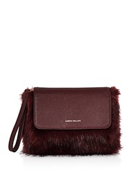 Karen Millen Faux Fur Clutch Red