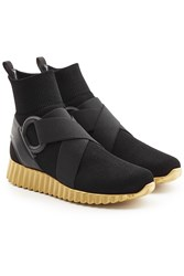 Salvatore Ferragamo Sock Sneakers With Mesh And Leather Black