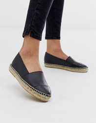 Office Lucky Black Leather Flat Espadrilles