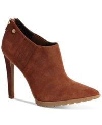 Calvin Klein Women's Berrie Pointed Toe Booties Women's Shoes Cigar Brown Suede