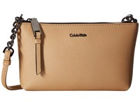 Calvin Klein Hayden Saffiano Key Item Crossbody Nude Cross Body Handbags Beige