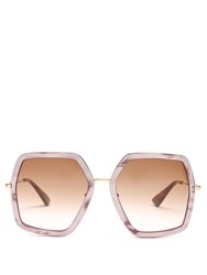 Gucci Oversized Hexagon Frame Sunglasses Light Pink