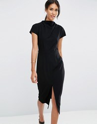 Asos High Neck Wiggle Dress With Split Front Black
