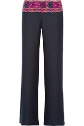 Figue Chanda Embroidered Silk Blend Wide Leg Pants Midnight Blue