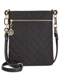 Tommy Hilfiger Isabella Quilted Nylon Flat Crossbody Black