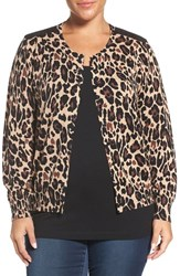 Foxcroft Plus Size Women's Animal Print Cotton Cardigan