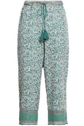 Talitha Cropped Printed Silk Straight Leg Pants Green