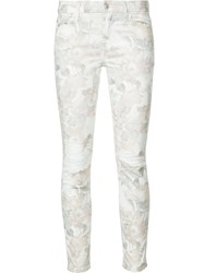 7 For All Mankind Distressed Floral Jeans Women Cotton Spandex Elastane 26 White