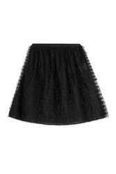 Red Valentino Full Skirt With Dotted Tulle Overlay Black