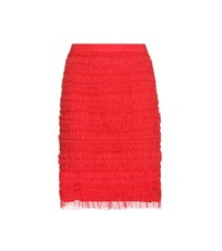 Givenchy Ruched Tulle Skirt Red