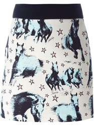 Fausto Puglisi Horse Print Mini Skirt Black