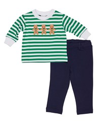 Florence Eiseman Striped Gingerbread Man Top W French Terry Pants Multi