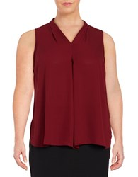 Vince Camuto Plus Pleat Front Shell Red