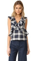 Marissa Webb Margeaux Plaid Top Shadow