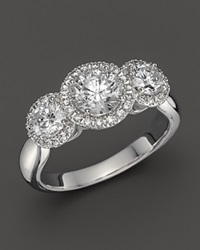 Bloomingdale's Diamond Three Stone Halo Ring In 14K White Gold 2.0 Ct. T.W.