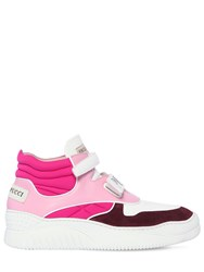 Emilio Pucci 40Mm Leather And Suede High Top Sneakers Pink