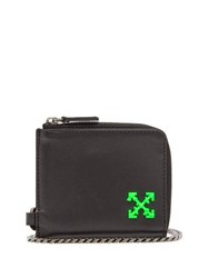 Off White Logo Leather Chain Wallet Black
