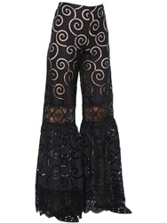 Alberta Ferretti Embroidered Poplin And Macrame Lace Pants