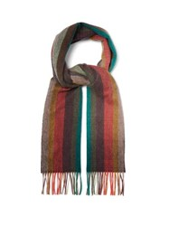 Paul Smith Artist Stripe Fringed Cashmere Scarf Multi