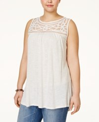 Eyeshadow Plus Size Embellished Yoke Sleeveless Top Oatmeal