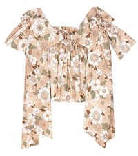 Chloe Printed Cotton Crop Top Beige