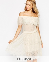 Darccy Vintage Boho Lace Off Shoulder Midi Dress Nude