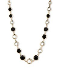 Anne Klein Faceted Jet And Clear Stone Long Necklace Black