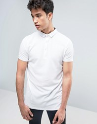 Brave Soul Polo Shirt With Bubble Effect White