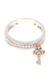 Savvy Cie 14K White Gold And 14K Rose Gold Champagne And White Diamond Key Charm Ring 0.15 Ctw Multi